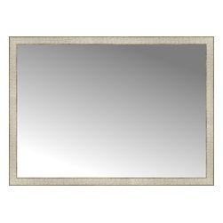 """Posters 2 Prints, LLC - 48"""" x 35"""" Libretto Antique Silver Custom Framed Mirror - 48"""" x 35"""" Custom Framed Mirror made by Posters 2 Prints. Standard glass with unrivaled selection of crafted mirror frames.  Protected with category II safety backing to keep glass fragments together should the mirror be accidentally broken.  Safe arrival guaranteed.  Made in the United States of America"""