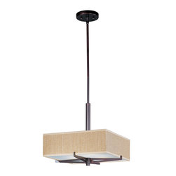 ET2 Lighting - Elements 3-Light Pendant - Add a punch of color or an interesting texture to your room with this cool, drum pendant. The shade's simple, square silhouette is unique and plays up the shape of your dining table or countertop.