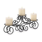 "Malibu Creations - Wrought Iron Triple Scroll Style Candle Stand - This iron candle stand perfectly combines strong metal, beautiful design and soft candlelight. The scrolling ironwork brings to life the glow of three pillar candles of your choice, and the stand is the perfect table centerpiece or mantel accent.  Serves as an ideal wedding centerpiece of housewarming gift she will enjoy for years to come!   * Dimensions: L: 17"" w: 4"" H: 7"""