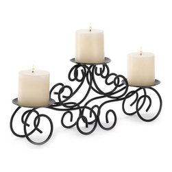 """Malibu Creations - Wrought Iron Triple Scroll Style Candle Stand - This iron candle stand perfectly combines strong metal, beautiful design and soft candlelight. The scrolling ironwork brings to life the glow of three pillar candles of your choice, and the stand is the perfect table centerpiece or mantel accent.  Serves as an ideal wedding centerpiece of housewarming gift she will enjoy for years to come!   * Dimensions: L: 17"""" w: 4"""" H: 7"""""""