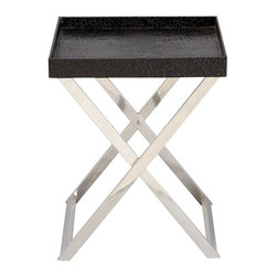 Aspire - Contemporary Accent Tray - This contemporary tray table features a silver metal base with a wood tray overlaid in black faux leather. Metal and Wood. Color/Finish: Black, silver. Assembly Required. 23 in. H x 18 in. W x 16 in. D. Weight: 9 lbs.