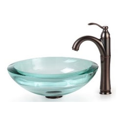 Kraus - Kraus Clear 34mm edge Glass Vessel Sink and Riviera Faucet Oil Rubbed Bronze - *Add a touch of elegance to your bathroom with a glass sink combo from Kraus
