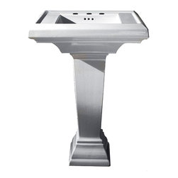 "American Standard - American Standard 0780.800.020 Town Square Pedestal Sink, White - American Standard 0780.800.020 Town Square Pedestal Sink, White. This pedestal sink set features a classic American design with it's clean, straight lines and ogee curves. It has a fireclay construction, a rear overflow, and a supplied mounting kit. This model measures 27"" by 21-1/4"", with a 6-1/2"" bowl depth, and 8"" centered faucet mounting holes."