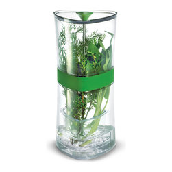 Cuisipro Compact Herb Keeper - Who doesn't enjoy cooking with fresh herbs?  Now you can cook with fresh herbs every day without worrying about them spoiling.  The Cuisipro Compact Herb Keeper is a stylish solution that keeps herbs fresh for weeks!  Store herbs in tray that suspends. The removable tray puts stems in water for freshness  and also suspends for draining and easy access to herbs.            Product Features                       Perfect size for a single grocery store pack of herbs.            Simple - add water to mark & herbs last for weeks.            Suspended/Removable Tray: The tray suspends at midpoint of unit to load or take out herbs; no need to take the tray out of the container like competitive units. The tray has holes so the water hydrates the herbs & drains when pulled up - mess free!            Conveniently fits in most refrigerator doors.            Easy Clean Up: Hand wash only.