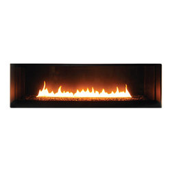"""Spark Modern Fires - Spark Modern Fires - Fire Ribbon Direct Vent 4 ft, With Safety Screen - """"An endlessly changeable, designable fire. A truly modern fire—clean, uncluttered lines framing a pure ribbon of flame. A fixed glass window complements its sleek dimensions. The fire ribbon direct-vent provides a flawless focal point for any contemporary space. This fire goes anywhere it can vent to the outside, through a roof or an exterior wall. Install it quickly and easily, with no need for either a chimney or hearth."""