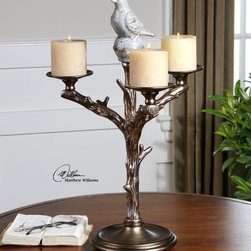 "Uttermost - Birdella Candleholder - Antiqued Silver With A Heavily Distressed, White Crackled Ceramic Bird Seated On Top. Distressed Off-white Candles Included. Uttermost's Accessories Combine Premium Quality Materials With Unique High-style Design. Overall Dimensions: 14""D x 14""W x 21""H"