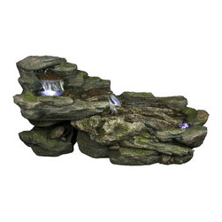Yosemite Home Decor - Yosemite Home Decor Cascading Rock Indoor / Outdoor Fountain X-02001WC - This Yosemite Home Decor indoor/outdoor water fountain features a charming cascading rock design. LED lights work to highlight the flow points of the stream, which falls and trickles down the entire frame. Realistic finishes add interest and depth to the design.