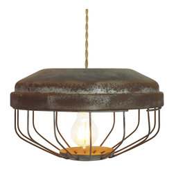 CRASH Industrial Supply Co. - Vintage Chicken Feeder Pendant Lamps, Tan Cloth Wire with Brass Canopy - These commercial chicken feeders have been repurposed and upcycled into charming pendant lights. Each of these one-of-a-kind pieces is fabricated here at CRASH and reflects its working life with just the right amount of patina. The surfaces have been cleaned, gently media blasted and fixed with a polyurethane. These industrial style lights come wired for 110V North American voltage using UL components and 8' of twisted double strand cloth covered wire in either black or tan (as shown). Available with a dual prong plug or hardwired with a brass canopy. Edison Bulb sold separately.