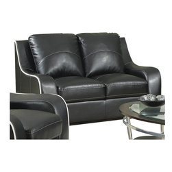 Coaster - Coaster Myles Bonded Leather Love Seat in Black - Coaster - Loveseats - 504222 - Feel at home the moment you sit down in this modern yet cushy love seat. The loveseat is made out of durable, black bonded leather for a soft to the touch feel and features a contrasting white cord trim for an added visual interest. What a wonderful way to bring both comfort and contemporary style into your living room.