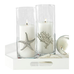 Starfish Design Cylinder Vase - Mingling the inherent, breathtaking elegance of natural oceanic form with the crystal-clear, upright lines of a simple glass vase, the Starfish Design Cylinder Vase serves beautifully as a holder for a pillar candle or a container for a bouquet. Perfectly sleek and beautifully complemented by the texture and geometry of the silver sea star, the vase is a lovely centerpiece or accent.