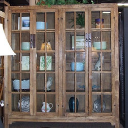 "Mission Style Glass Door Cabinet - This is a very large, mission style bookcase with wide glass doors and 4 shelves. The cabinet measures 71"" wide x 16"" deep x 78.5"" high."