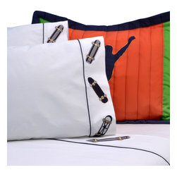 Pem America - Cool Skate Full Sheet set - Carve up the sidewalk with you skateboard with this fun boys quilt.  This fun, extreme sports bedding has bright orange green and deep navy blues to match a variety of rooms.  This quilted pattern is hand pieced with applique and embroidered highlights.