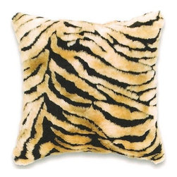 """Canaan - Faux Fur Bengal Pattern Animal Print 18"""" x 18"""" Throw Pillow - Faux fur bengal pattern animal print 18"""" x 18"""" throw pillow. Measures 18"""" x 18"""" made with a blown in foam. These are custom made in the U.S.A and take 4-6 weeks lead time for production."""