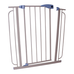 Welland - Hallway Security Gate - Whether you want to keep Fido from stealing steak out of the kitchen or the baby from crawling down the stairs, this sturdy metal security gate provides the peace of mind you seek. Use one hand to easily swing it open in either direction and watch it close behind you automatically — keeping your steak and your baby safe.