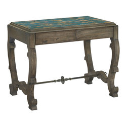 Baker Furniture - Vizcaya Side Table - Stone Top - For all of its sculpture and drama, there can be a disarming quality to Spanish furniture.  This version of the Vizcaya draws on the local tradition of ceramic tile not only formed and glazed by hand but also fired in ovens themselves the work of another century.  The resulting colors are bolder, more varied, and subject to the random flashing of the fire.  The iron stretcher still remains a grand flourish.  Scrolled legs remain open and graphic, still revealing themselves only over time.