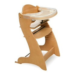 Badger Basket Embassy Adjustable Wood High Chair with Tray - Natural
