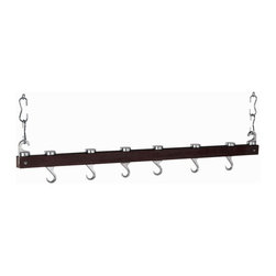 "Group 5 Marketing - Espresso Wood Innovative 36"" Dual Track Ceiling Kitchen Rack - This 36"" ceiling pot rack provides efficient storage for all of your pots and pans. It also offers sturdy cast aluminum hooks suspended between a dual track system causing the hooks to slide or swivel into any desired position. Easy to install and includes all hardware needed to set up. Includes 16 Hanging Links, 2 Swivel Hooks and 4 Pan Hooks, all Mounting Hardware and Instructions."