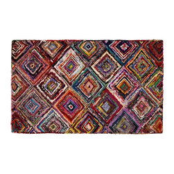 Modern Cotton and Polyester Handmade Rug - Make a vibrant statement with the gorgeous craftsmanship of India. Beautifully made from strips of recycled sari dresses, this colorful rug is highlighted by a unique blend of colors and patterns, artfully arranged into a diamond pattern.