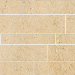 Limestone Collection Cream Gold Design 4 Mosaic - Subtle organic beauty marks StonePeak's unglazed porcelain limestone.