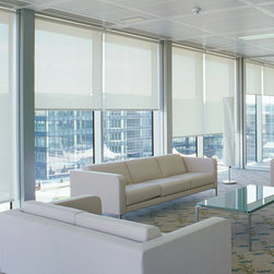 Roller Shades in Office - Custom Roller & Solar Shades are perfect for modern and contemporary homes as well as office buildings and other professional spaces.