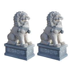 Giant Foo Dog of the Forbidden City Sculptures, Set of 2 - Giant foo dogs are a must for any entrance. How else will the world know how posh you are?