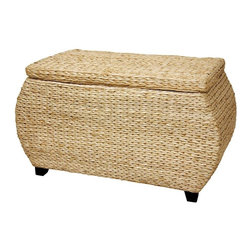 Oriental Furniture - Rush Grass Storage Box - Natural - A simple, beautiful, rattan style storage chest, hand crafted from beautifully textured V woven water hyacinth rush grass. The thick, substantial lid is hinged to the box, and the inside and top are lined with a fine white cotton fabric. The unique bowed ends and the wood feet bring a refinement to the rustic design; great for storage or an alternative coffee table.