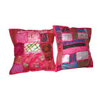 Mogul Interior - Pink Embroidered Cushion Cover, Set of 2 - *Add a splash of ethnic ambiance to any room, with our range of beautifully embellished Decorative Cushion Covers.Wall Hanging tapestry,patchwork toss pillow shams are great as gifts as well.