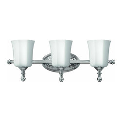 Hinkley Lighting - 5013CM Shelly Bath Vanity Light, Chrome, Etched Opal Glass - Traditional Bath Vanity Light in Chrome with Etched Opal glass from the Shelly Collection by Hinkley Lighting.
