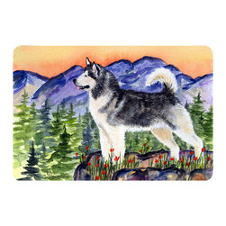 Caroline's Treasures - Alaskan Malamute Kitchen or Bath Mat 20 x 30 - Kitchen or Bath Comfort Floor Mat This mat is 20 inch by 30 inch. Comfort Mat / Carpet / Rug that is Made and Printed in the USA. A foam cushion is attached to the bottom of the mat for comfort when standing. The mat has been permanently dyed for moderate traffic. Durable and fade resistant. The back of the mat is rubber backed to keep the mat from slipping on a smooth floor. Use pressure and water from garden hose or power washer to clean the mat. Vacuuming only with the hard wood floor setting, as to not pull up the knap of the felt. Avoid soap or cleaner that produces suds when cleaning. It will be difficult to get the suds out of the mat.