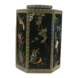 Golden Lotus - Chinese Hexagon Container with Embriodery Cover - This is a hexagon shape box covered with hand embriodery art work fabric . It is a special decoration piece for the room.