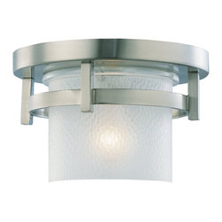 Seagull - Seagull Outdoor Eternity Flush Mount Outdoor Lighting Fixture in Brushed Nickel - Shown in picture: 88115-962 Single-Light Eternity Outdoor Ceiling Fixture in Brushed Nickel finish with Clear Highlighted Satin Etched Glass