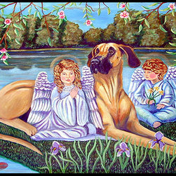 Caroline's Treasures - Angels With  Great Dane Indoor Outdoor Mat 18X27 Doormat - Great Dane INDOOR / OUTDOOR FLOOR MAT This is available in either 18 inch by 27 inch or 24 inch by 36 inch Action Back Felt Floor Mat / Carpet / Rug that is Made and Printed in the USA. A Black binding tape is sewn around the mat for durability and to nicely frame the artwork. The mat has been permenantly dyed for moderate traffic and can be placed inside or out (only under a covered space). Durable and fade resistant. The back of the mat is rubber backed to keep the mat from slipping on a smooth floor. Wash with soap & water.