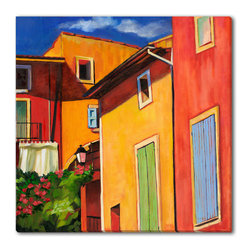 Gallery Direct - Maxine Shore's 'Colorful Houses' Canvas Gallery Wrap, 24x24 - Maxine Shore was born in New York, and was educated at Chatham College, Middlebury College, and Parsons School of Design. She currently resides in East Windsor, New Jersey. Holding onto the memory of a special place, in a particular time, is why I paint. Painting a familiar scene resonates with me as it brings to mind wonderful memories. But I am also inspired to paint unfamiliar settings because Im dazzled by colors, or light, or unique feelings I have from being surrounded by unexpected beauty. Even when a painting is representational there exits an abstract dynamic below the surface. Exploring the interplay of shapes, patterns of lights and darks, and composition all contribute to the final outcome. So many moments escape our notice because we are caught up in the minutiae of daily life. My purpose in painting is to freeze those fleeting scenes and to invite you to share them with me. -Maxine Shore