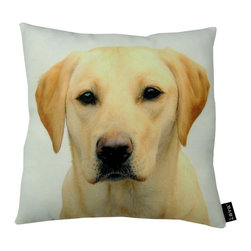 Yellow Lab 18X18 Decorative Pillow (Indoor/Outdoor) - 100% polyester cover and fill.  Suitable for use indoors or out.  Made in USA.  Spot Clean only