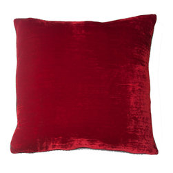 Squarefeathers - Bella Red Velvet Pillow *Exclusive to Houzz - A dazzling pillow that is sensual in color and texture. The Bella Red Velvet pillow gives off a beautiful sheen making this red pillow unique. Like all of our products, this pillow is handmade, made to order exclusively in our studio.  The Bella Collection is the definition of couture interior design.