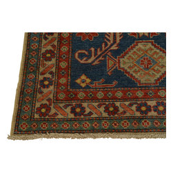 4'x5' Geometric Design Kazakh Oriental Rug Hand Knotted 100% Wool Sh18335 - Our Tribal & Geometric hand knotted rug collection, consists of classic rugs woven with geometric patterns based on traditional tribal motifs. You will find Kazak rugs and flat-woven Kilims with centuries-old classic Turkish, Persian, Caucasian and Armenian patterns. The collection also includes the antique, finely-woven Serapi Heriz, the Mamluk Afghan, and the traditional village Persian rug.