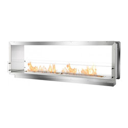 "Ignis - 78.5"" Double-Sided Ethanol Burning Firebox Fireplace Wall Insert - The Ignis FB6200D Double-Sided Ethanol Firebox creates an open, see-through ethanol fireplace that may be built into the wall with the benefits of the fireplace shared by two separate spaces. This ethanol fireplace is the longest two-sided fireplace insert by Ignis and uses patent-pending technology that sets the bar for safety in the industry. In addition to its higher safety standard, the FB6200D model, an ethanol fire box designed by Ignis Development, burns environmentally-safe bio ethanol fireplace fuel. Because this clean burning fuel doesn't release harmful emissions into the air, this firebox is ventless."