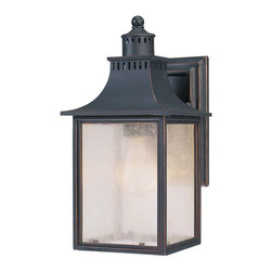 Savoy House - Savoy House Monte Grande Outdoor Wall Mount Light Fixture in Slate - Shown in picture: Designed by Karyl Pierce Paxton; Our extremely popular Monte Grande design is now available in this new Slate finish with pale cream seeded glass.