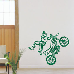 ColorfulHall Co., LTD - Removable Sports Art Decoration Cars Wall Decals Motocross Wall Decals, Green - You will find hundreds of affordable peel - and - stick wall decal designs, suitable for all kinds of tastes and every room in your house, including a children's movie theme, characters, sports, romantic, and home decor designs from country to urban chic. Different from traditional decals, vinyl wall decals is with low adhesive that allows you to reposition as often as you like without damaging the paint. Application is easy: peel offer the pre-cut elements on the design with a transfer film, and then apply it to your wall. Brighten your walls and add flair to your room is just as easy.