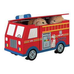 Fantasy Fields - Fantasy Fields Fire Engine Personalized Toy Chest Multicolor - W-4007AP - Shop for Childrens Toy Boxes and Storage from Hayneedle.com! It's universally acknowledged that the two best things about being a fireman are riding on the truck and sliding down the fire pole and the Fantasy Fields Fire Engine Personalized Toy Chest lets kids imagine they're racing to the fire while they put their toys away. The painted finish is unmistakably styled after a hook-and-ladder truck complete with dalmatian. The body is crafted from durable MDF with a lift-up lid that reveals the ample interior storage that will help keep their rooms tidy. Safety hinges make sure the lid closes slowly and the wide cut-out along the edge helps to prevent pinched fingers. This fun toy chest also gives you the option to personalize the side with your child's name.About Teamson DesignBased in Edgewood N.Y. Teamson Design Corporation is a wholesale gift and furniture company that specializes in handmade and hand-painted kid-themed furniture collections and occasional home accents. In business since 1997 Teamson continues to inspire homes with creative and colorful furniture.