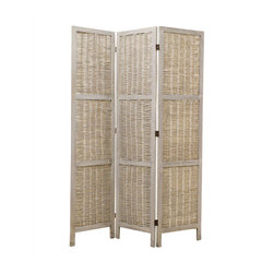 GREYSON SCREEN - 3 panel paulownia fram with grey washing willow screen. It's can be used indoor/covered out door setting.