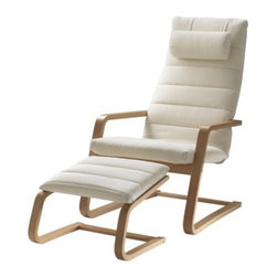 Nike Karlsson - BOLIDEN Chair and footstool - Chair and footstool, beech-color, Genarp light beige