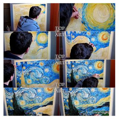 TOPofART - Starry Night | van Gogh | Painting Reproduction  | TOPofART.com - Painting Title: Starry Night, 1889 | Artist: Vincent van Gogh | Medium: Hand-Painted Art Reproduction