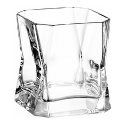 "Arnolfo Di Cambio - CiBi Double Old Fashion Crystal Glass (Set of 2) - The CiBi Double Old Fashion glass (12.5 oz) by Italian Architect and Designer Cini Boeri (1973) is mouth blown and hand cut by master glass-makers in Colle val d' Elsa, Tuscany. It features a square form cut diagonally at the corners and unusual tapering in the middle. It is the perfect gift for that man who has everything but this crystal cocktail glass! The CiBi Double Old Fashion glass was made famous after appearing in the Ridley Scott movie Blade Runner (1981), in which Harrison Ford as Rick Deckard drank a single malt scotch from it!  A great ""cocktail conversation"" piece. Set of two in a gift box. Made in Italy"