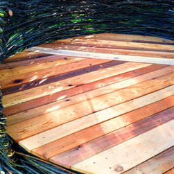 Medium Outdoor Thicket (6ft W floor x 7ftD x 8-9ftH) - Cedar plank floor detail. (Medium Thicket: 6ft W base x 7-9ft H) For specific pricing, please visit cheeriup.com