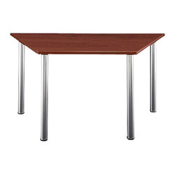 BBF - BBF Aspen Trapezoid Table with Wood Top and Metal Legs - BBF - Meeting / Training Tables - TS85403 - The BBF Aspen Trapezoid Table is an understated but appealing table solution that combines effortlessly with other Aspen Table Collection segments to produce a great variety of custom configurations. The trapezoid design of this table makes it perfect as a part of a U-shaped or diagonal setup.