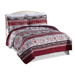 Pem America - Burgundy Floral Scroll Full / Queen Quilt with 2 Shams - Classic floral updated with a bohemian style stripe and deep reds and burgundy colors. 1 Full/Queen quilt 90x90 inches and 2 standard shams 20x26 inches. 100% microfiber polyester face and back.  100% polyester fiber fill. Machine washable.