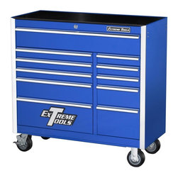 Extreme Tools - Steel 11-Drawer Professional Tool Chest on Locking Casters - Made of Steel. Four (4) 5 in. x 2 in. casters. High gloss powder coat finish. Drawers with ball bearing glides. 100 lbs. rating per drawer. Skid proof drawer liners in all drawers. Blue finish. Some assembly required. 42 in. W x 18 in. L x 41 in. H (236 lbs.)