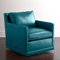 """Horchow - Nina St. Clair Peacock Blue Leather Swivel Chair - PEACOCK - Nina St. Clair Peacock Blue Leather Swivel ChairDetailsHardwood frame.Top-grain aniline-dyed leather upholstery.Feather/down cushion.Mortise-and-tenon frame construction.Sinuous-spring seat.30.5""""W x 36.5""""D x 33""""T with 24.5""""W x 22""""D x 18""""T seat.Handcrafted in the USA.Boxed weight approximately 44 lbs. Please note that this item may require additional delivery and processing charges."""