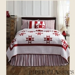 Carolina Quilted Bedding - Nothing could be finer! Carolina Quilted Bedding features a classics Ohio Star pattern in chili pepper red on soft white and is perfect for light and bright settings, 100% cotton shell and fill.
